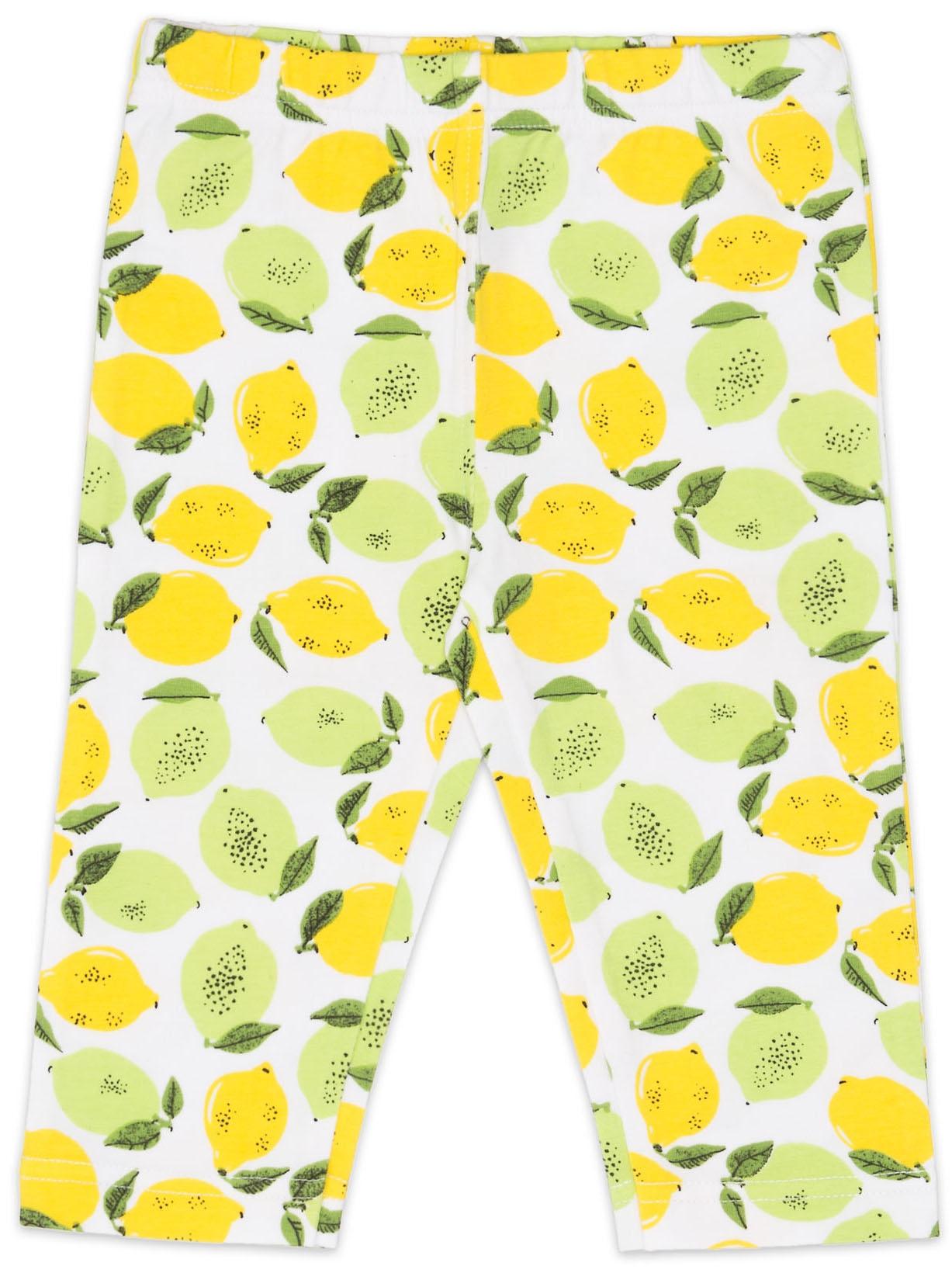 Легинсы Barkito Брюки трикотажные капри для девочки Barkito, Лимончики, белый, с рисунком лимончики брюки дудочки 7 8 с рисунком