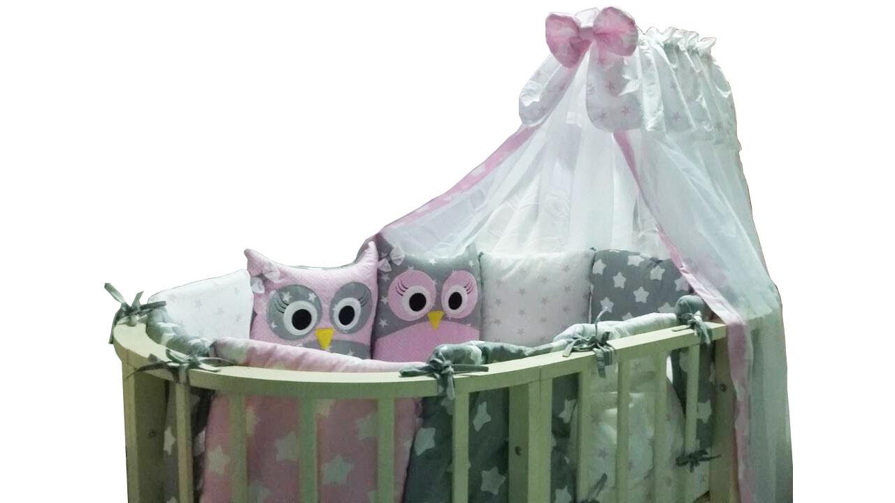 Постельные принадлежности Луняшки Комплект в овальную кроватку Луняшки «Совята» 7 пр. розовый постельное белье leader kids комплект в кроватку 7 ми предм друзья совята син бязь