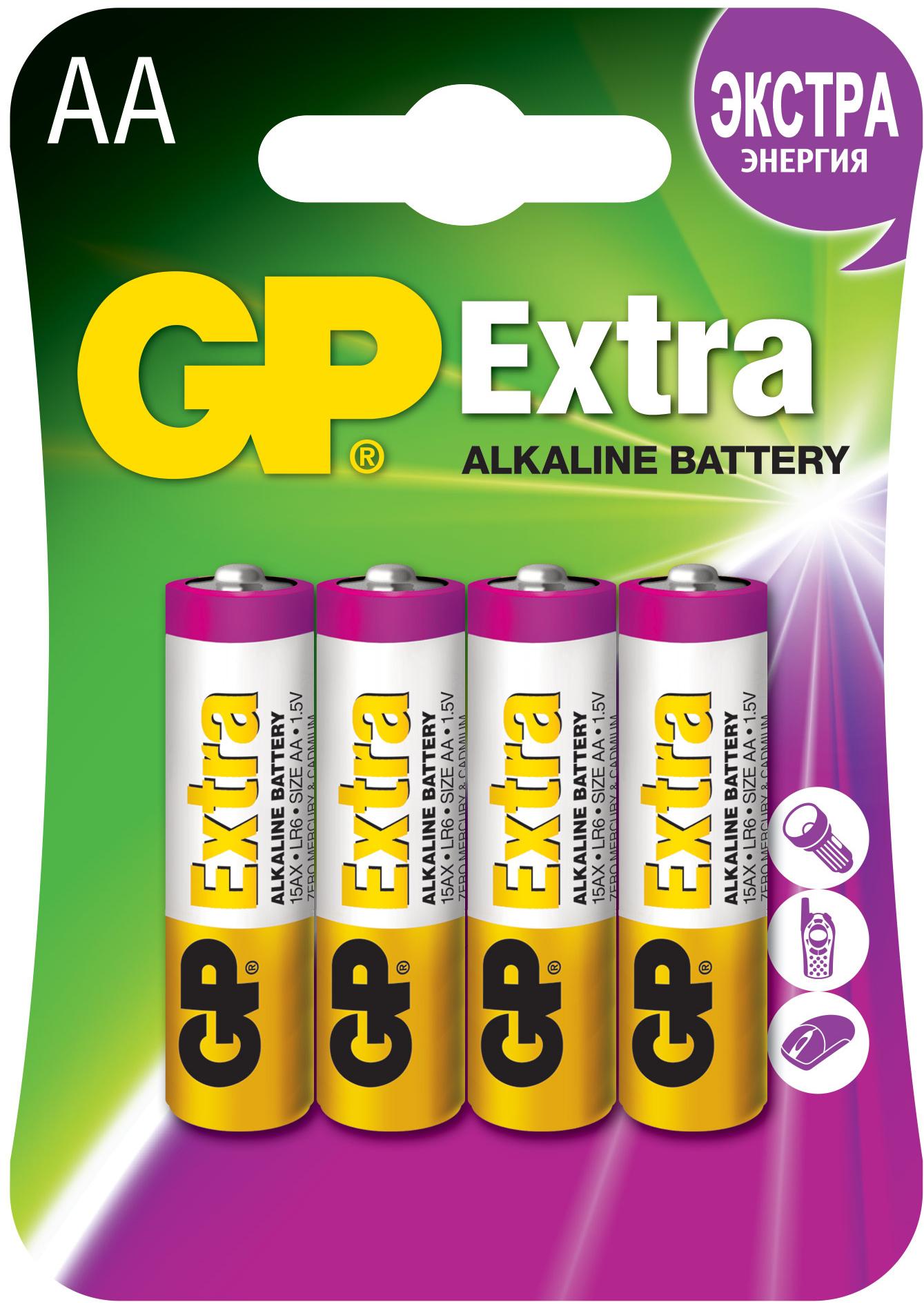 Элемент питания GP 15A (LR6) BL4/BC4 АА 4 шт