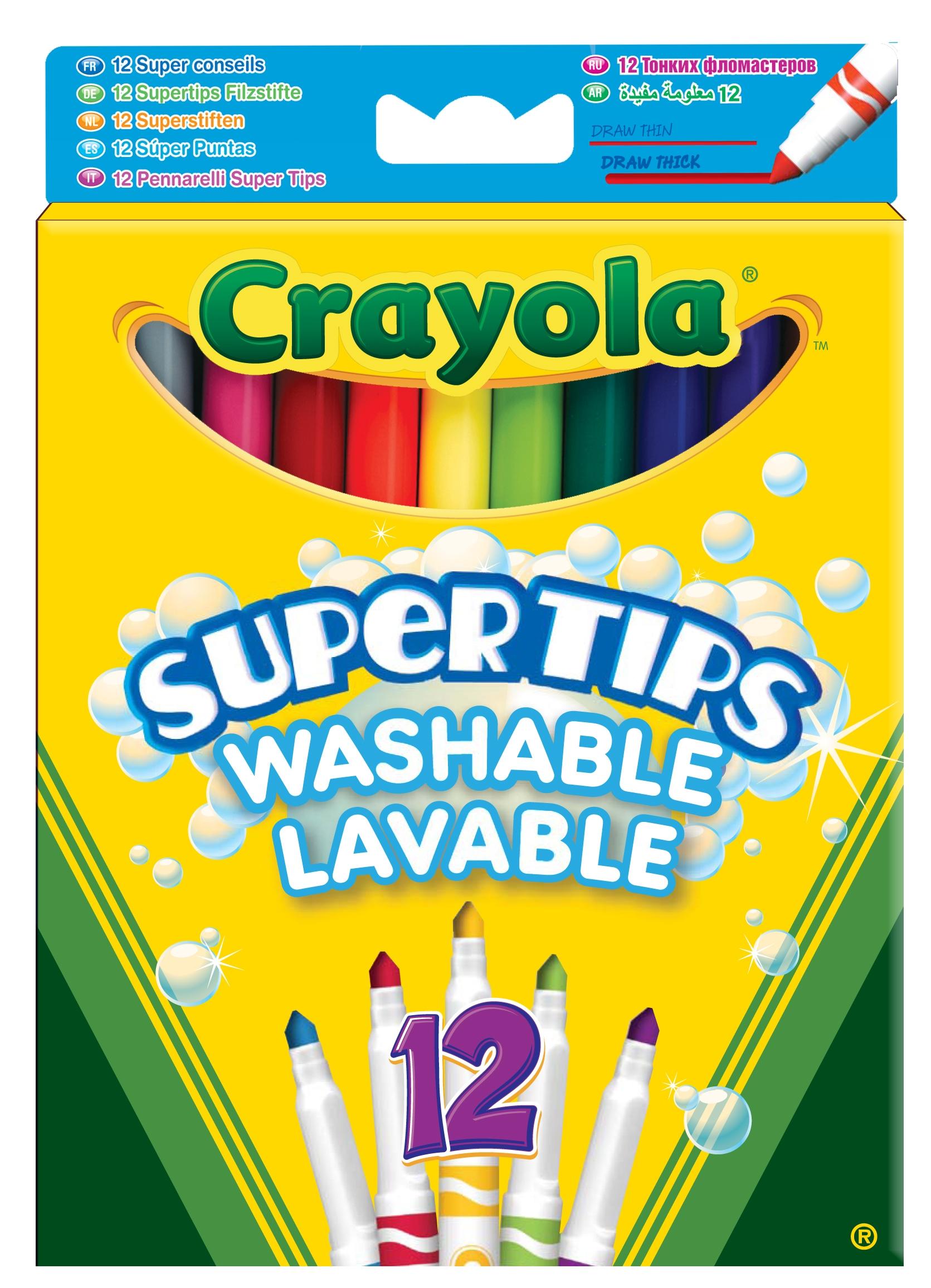 Фломастеры Crayola Супертипс ярких цветов 12 шт. фломастеры crayola 12 цветов для малышей 8325