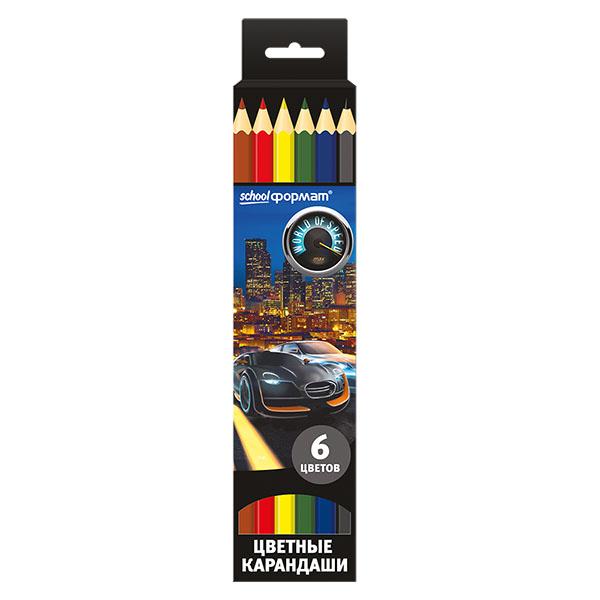 Цветные карандаши schoolФОРМАТ World of Speed 6 цв КЦ06-МСШ 6 speed cable band switch 25f
