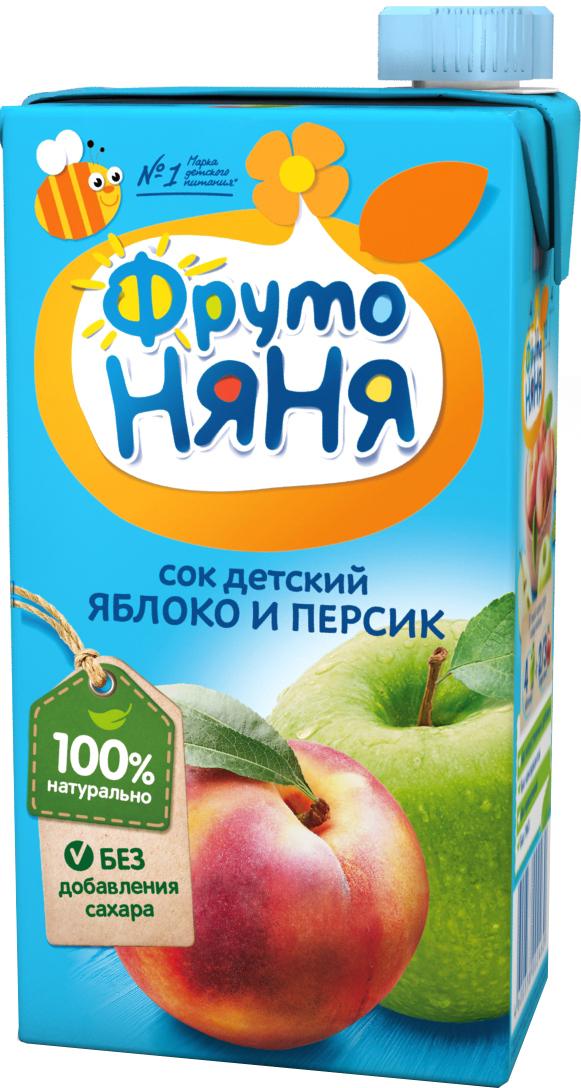 Сок Прогресс ФрутоНяня Яблоко и персик с мякотью с 3 лет 500 мл сок фрутоняня яблоко и абрикос с мякотью с 3 лет 500 мл