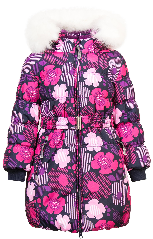 Фото - Пальто Barkito Пальто зимнее для девочки Barkito, темно-синее с рисунком цветы куртки пальто пуховики coccodrillo куртка для девочки wild at heart