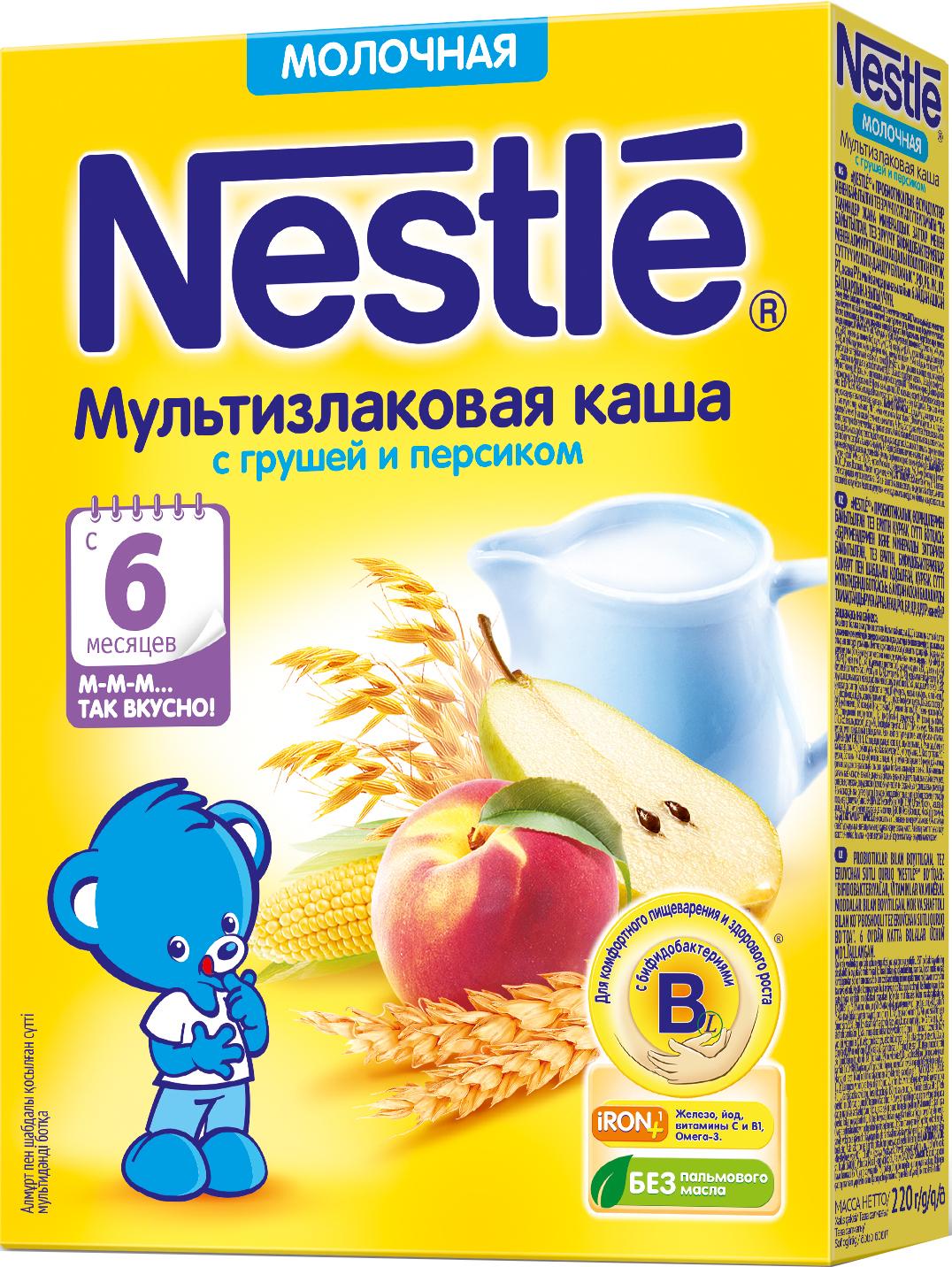 Молочные Nestle Каша молочная Nestle мультизлаковая с грушей и персиком с 6 мес. 220 г каша молочная малютка мультизлаковая с фруктами с 6 мес 220 г