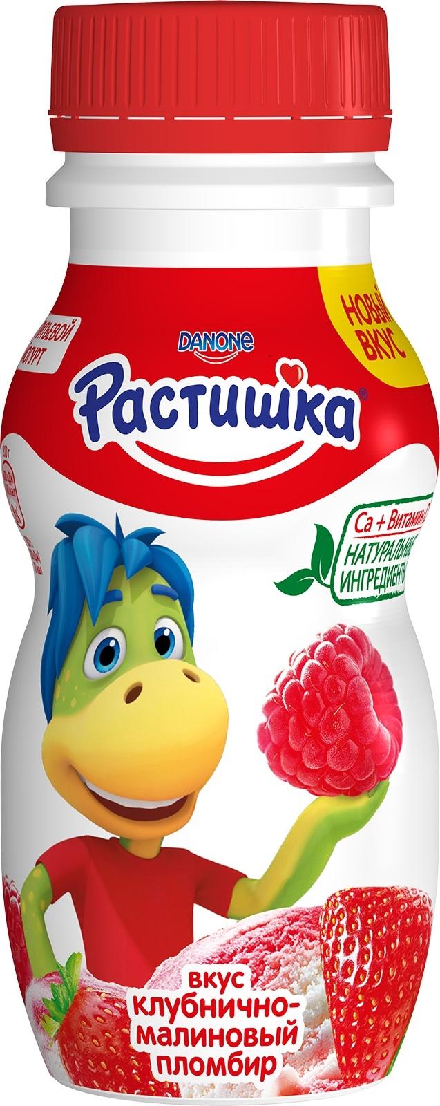 Купить Йогурт, Клубнично-малиновый пломбир 1, 6% с 3 лет 200 мл, 1шт., Растишка 135940, Россия