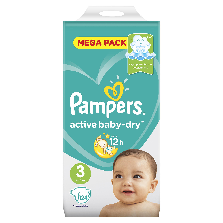 Подгузники Pampers Подгузники Pampers Active Baby-Dry 3 (6-10 кг) 124 шт. pampers подгузники pampers active baby dry 3 4 9 кг 82 шт