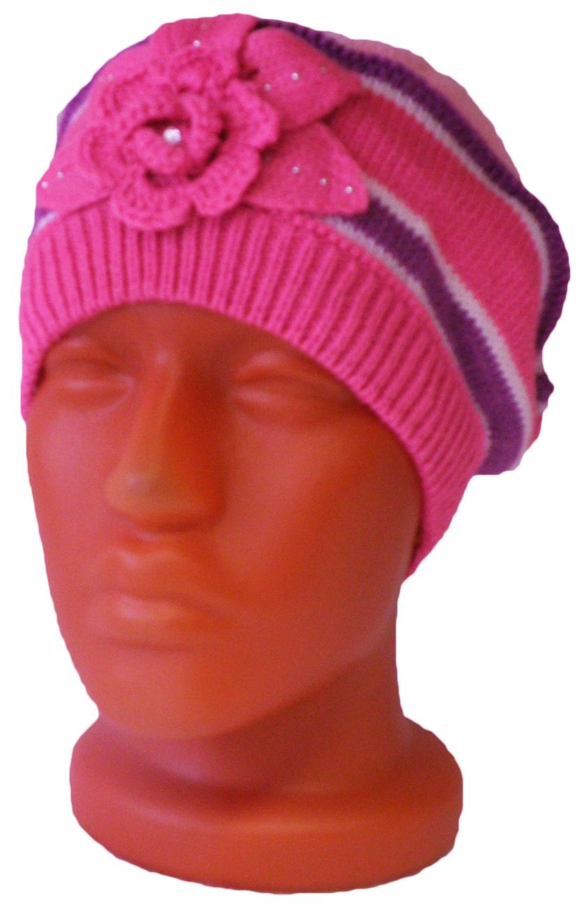 Головные уборы Индиго Шапка вязаная Индиго Розовая в полоску головные уборы индиго шапка индиго серая