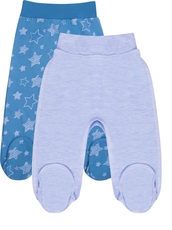 Ползунки детские Be2Me Голубые меланж и синие с рисунком звезды