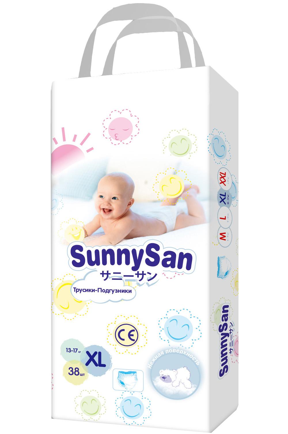Трусики-подгузники SunnySan XL (13-17 кг) 38 шт. подгузники insinse q6 xl 13 кг 18шт