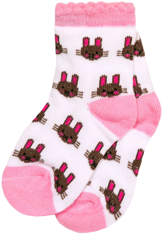 Носки Barkito Носки для девочки Barkito, 2 пары, розовые с рисунком в полоску, белые с рисунком
