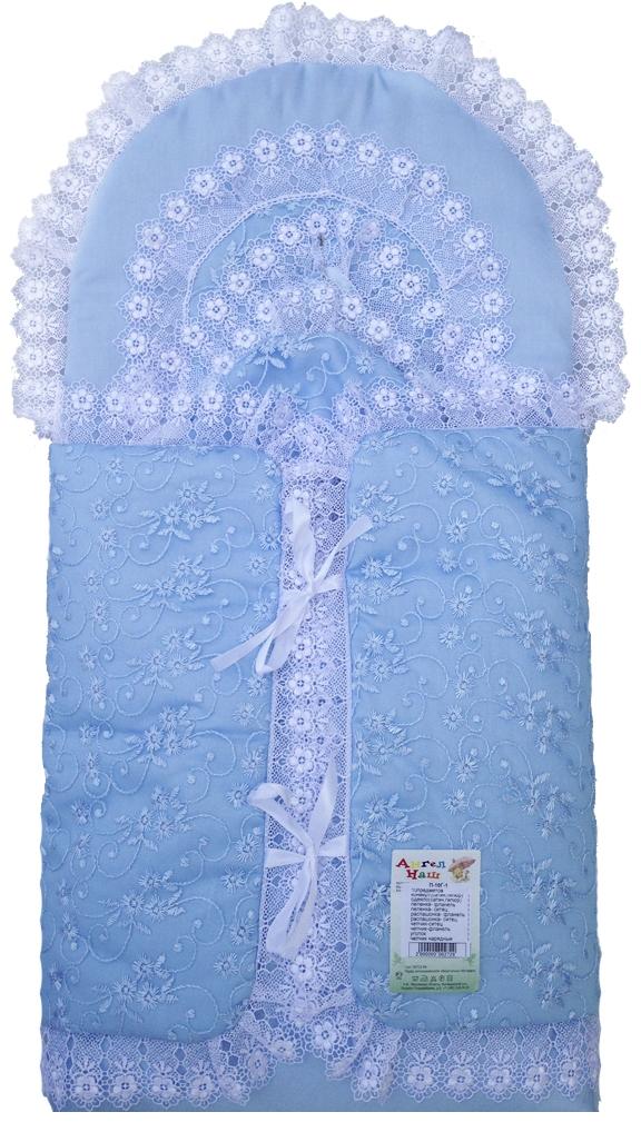 Первые вещи новорожденного Ангел наш Комплект для новорожденного Ангел наш, голубой, гипюр и сатин (конверт,одеяло,чепчик-2шт.,пеленка-2шт.,распашонка-2шт.,уголок,че распашонка детская морозко фланель 18