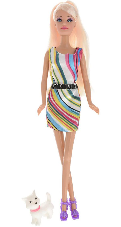 Кукла ToysLab Ася Прогулка с щенком Блондинка в ярком платье, 28 см, 35057 набор кукла ася джинсовая коллекция 28 см дизайн 1 toyslab ася