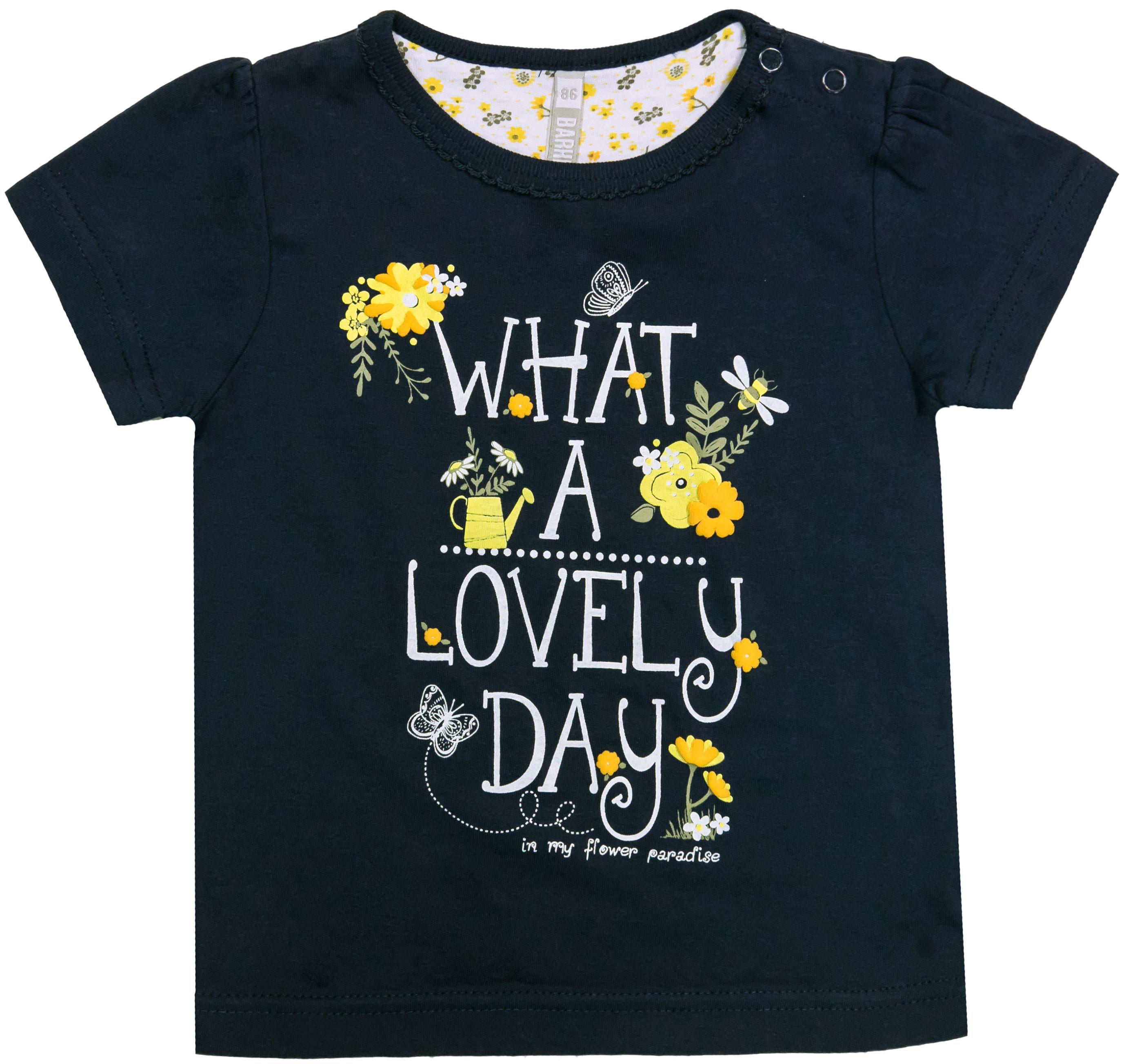 Купить Футболка с коротким рукавом для девочки, Желтые цветы, 1шт., Barkito 901049 X572 75, Бангладеш, т.синий, Женский