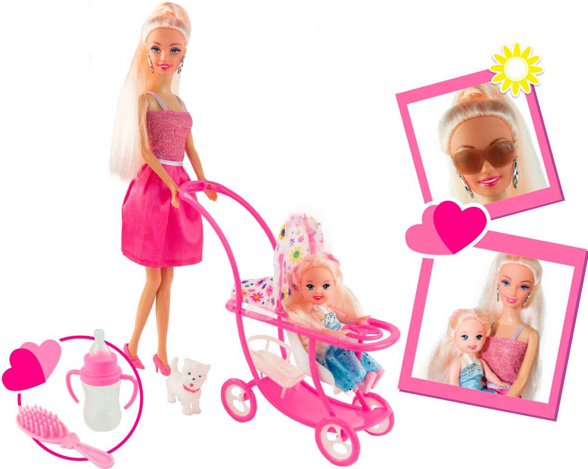 Набор ToysLab Ася Блондинка в розовом платье на прогулке с семьей, 11 и 28 см, 35087 набор кукла ася джинсовая коллекция 28 см дизайн 1 toyslab ася