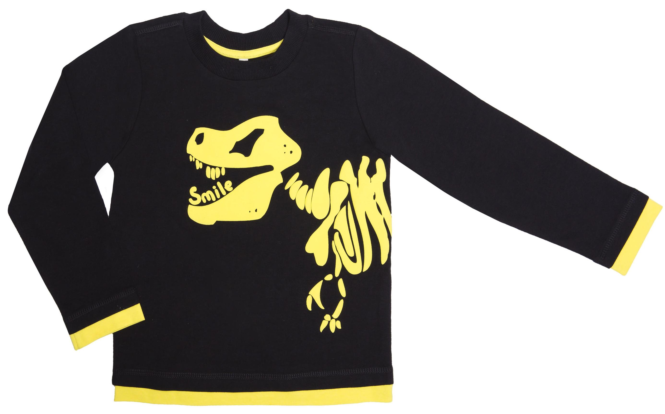 Футболки Barkito Футболка с длинным рукавом для мальчика Barkito, T-Rex, черная футболки barkito футболка с длинным рукавом для мальчика barkito монстр трак синяя