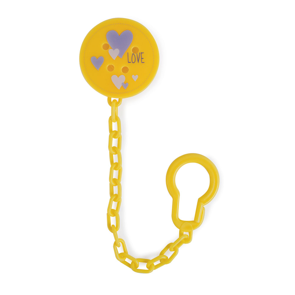 Контейнеры и держатели для пустышек Be2Me Держатель для пустышки Be2Me с цепочкой желтый аксессуар клипсы держатели bluelounge cableclip large blucc lg