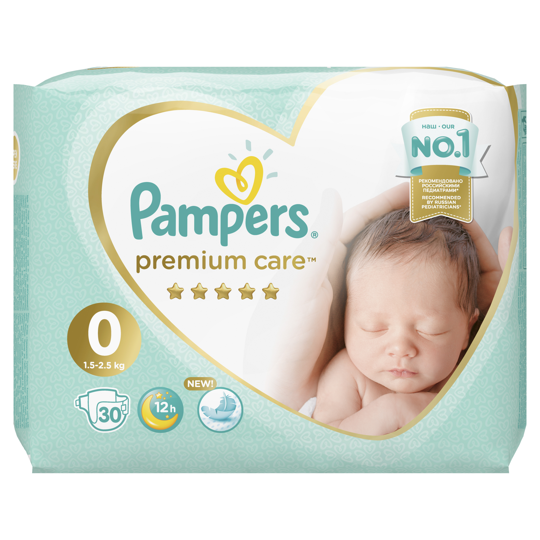 цена на Подгузники Pampers Premium Care Newborn 0 (1,5-2,5 кг) 30 шт.