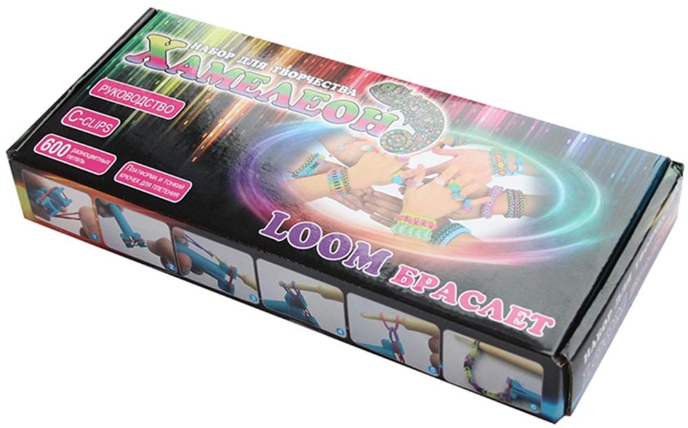 Украшения LOOM Браслет Набор для плетения браслетов Loom bands «Хамелеон» в коробе 600 шт. набор для плетения браслетов simple fun loom разноцветные светящиеся 200 шт