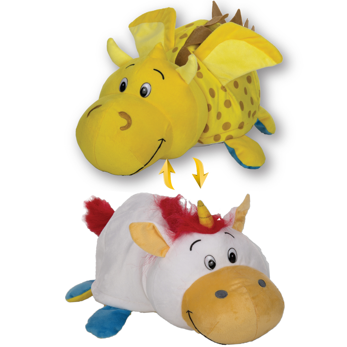 мягкие игрушки 1toy вывернушка подушка единорог щенок т12045 Мягкая игрушка 1toy Вывернушка Дракон-Единорог Т12335