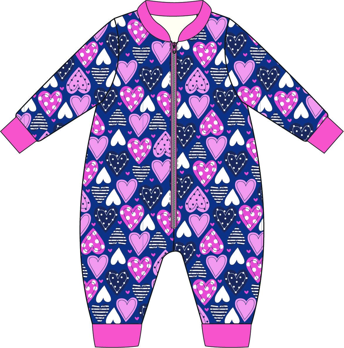 Купить Пижамы, Комбинезон для девочки Barkito, синий с рисунком сердечки, Россия, Женский