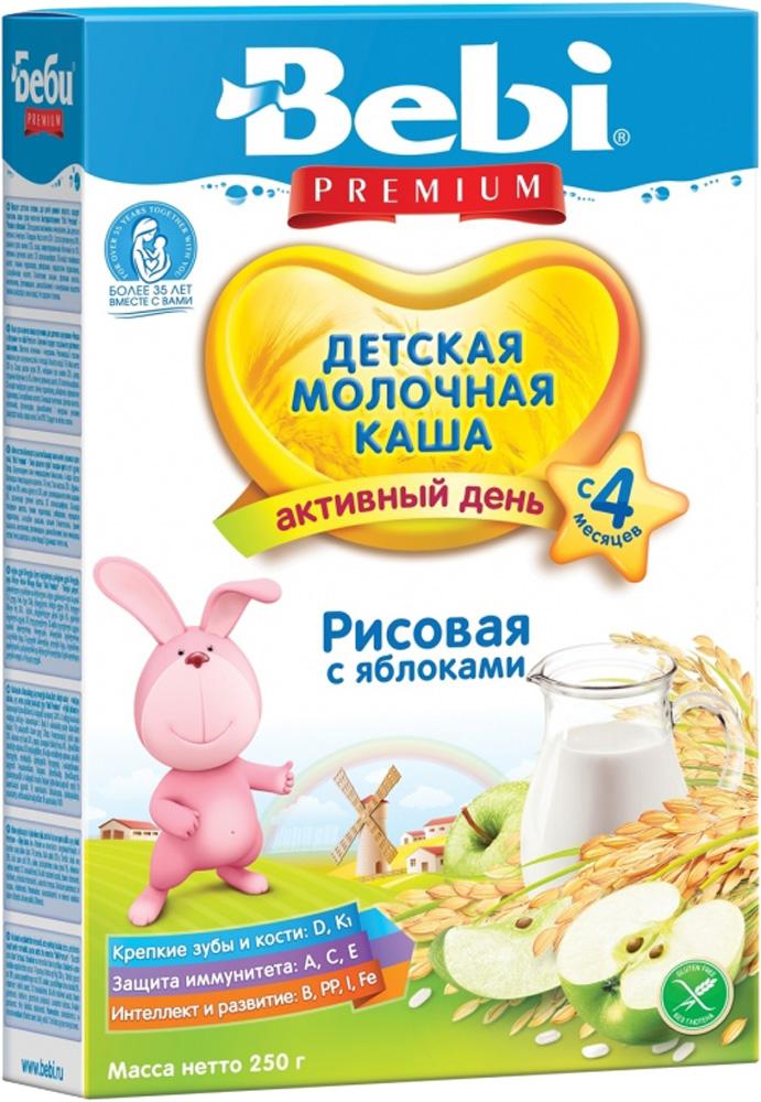 Молочные Bebi Каша молочная Bebi Premium «Активный день» рисовая с яблоком с 4 мес. 250 г каша bebi рисовая молочная