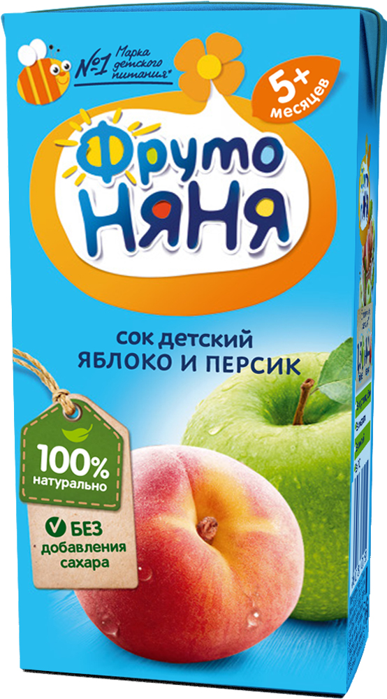 Сок Прогресс ФрутоНяня Яблоко и персик с мякотью с 5 мес. 200 мл добрый сок яблоко персик 0 2 л