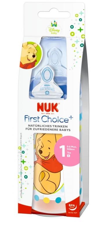 Пластиковая бутылочка с соской NUK First Choice Plus Disney бутылочка для кормления nuk first choice plus полипропилен 150 мл латексная соска со средним отверстием для пищи m р р 1 розовая