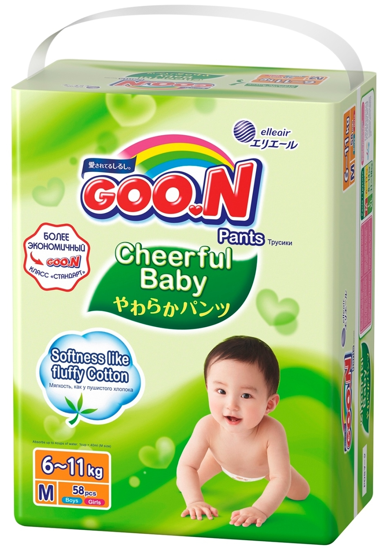 Подгузники-трусики Goon Cheerful Baby М (6-11 кг) 58 шт. подгузники трусики goon трусики подгузники goo n cheerful baby xl 11 18 кг 42 шт
