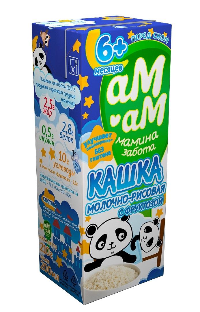 Каши Ам-Ам готовая молочная рисовая с 6 мес. 210 г каша готовая молочная фрутоняня рисовая с 6 мес 200 мл