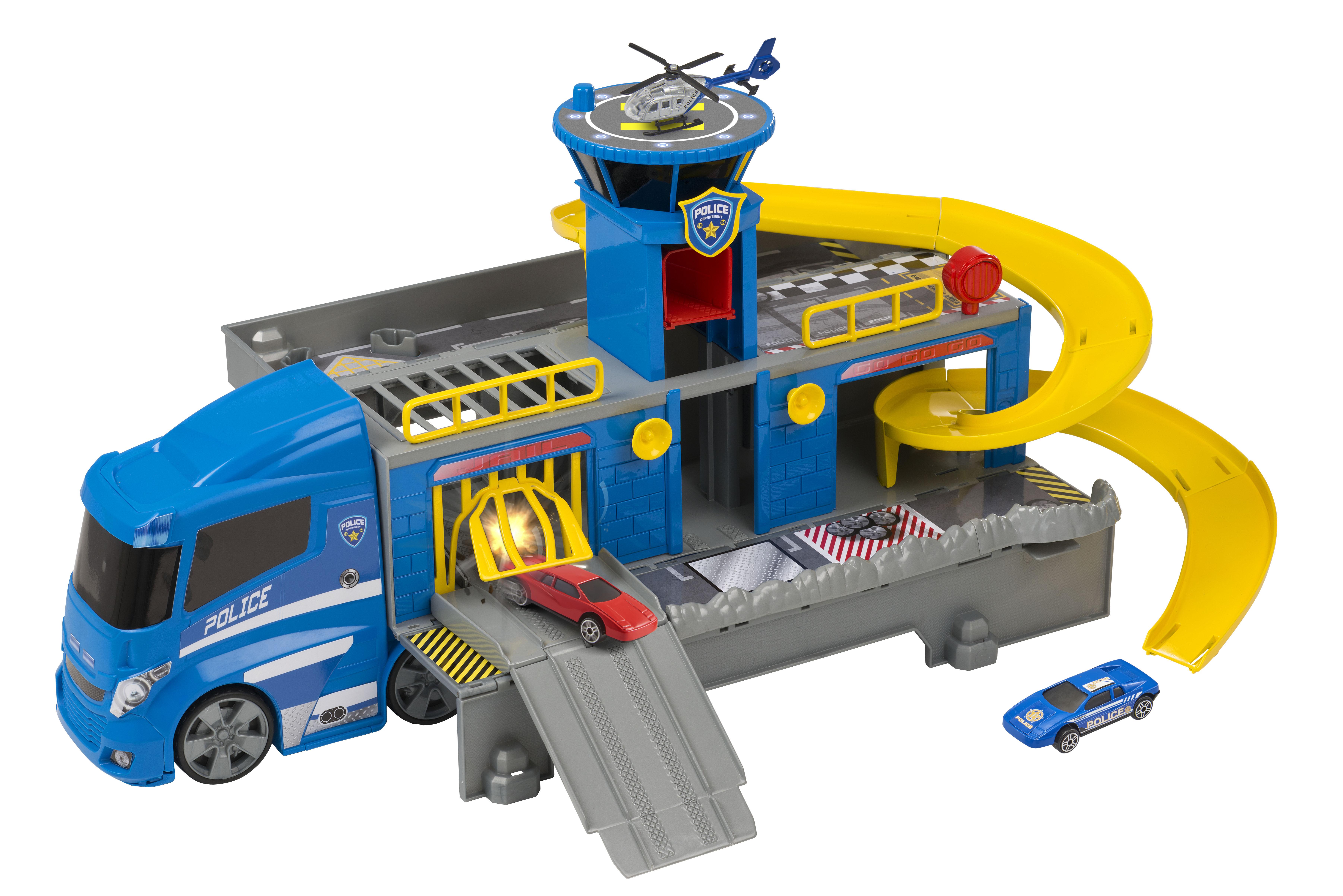 Купить Игровые наборы Профессия, Полицейский грузовик-трек с двумя машинками и вертолётом, HTI, Китай, Мужской