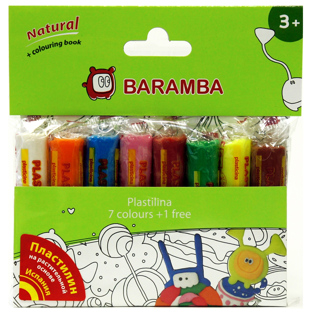 Пластилин Baramba Пластилин на натуральной основе 8 шт х 14 гр. + раскраска барамба пластилин цветной 11цв 25гр раскраска картонная коробка