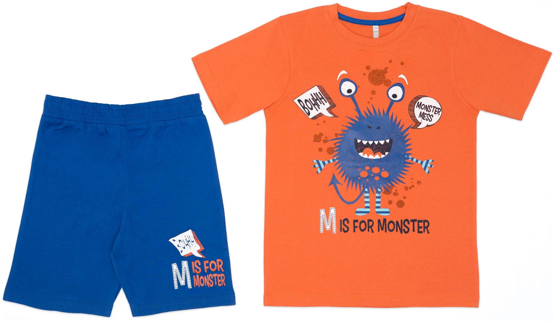 """Купить со скидкой Комплект трикотажный для мальчика: футболка с коротким рукавом+шорты Barkito, """"Мистер М"""","""