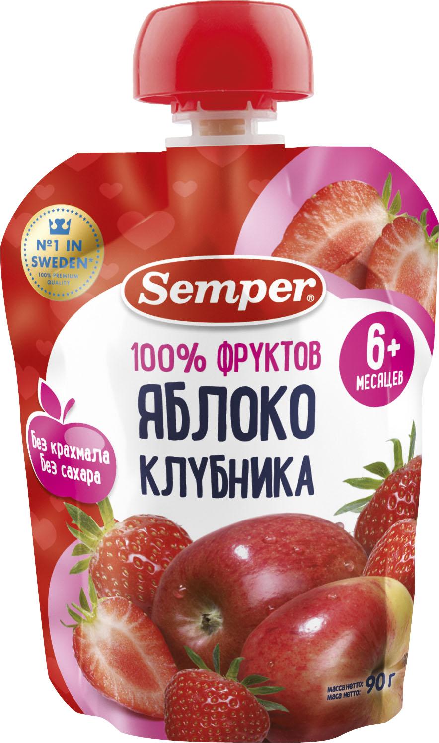 Пюре Semper Semper Яблоко и клубника (с 6 месяцев) 90 г пюре semper semper яблоко и манго с 6 месяцев 90 г
