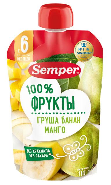 Пюре Semper Груша, банан, манго с 6 мес. 110 г (пауч)