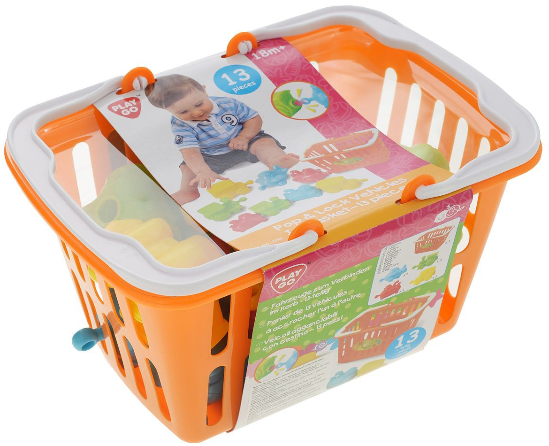 Кубики PLAYGO Игровой набор PlayGo «Транспортые игрушки» в корзине музыкальные игрушки playgo оркестр с животными