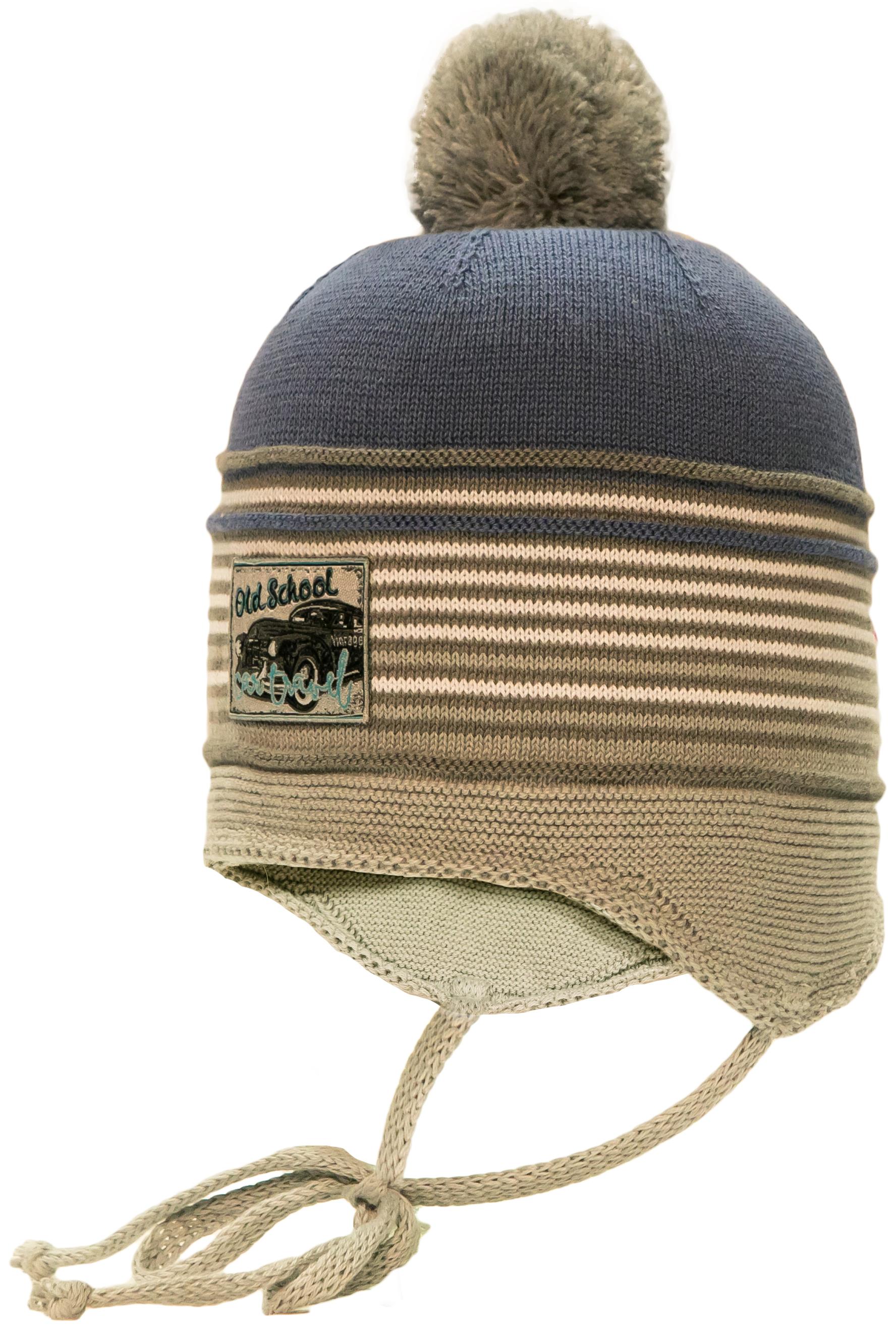 Шапка (ушанка) с завязками для мальчика Barkito Barkito Голубая с рисунком в полоску шапка ушанка для мальчика barkito темно синяя с рисунком в полоску