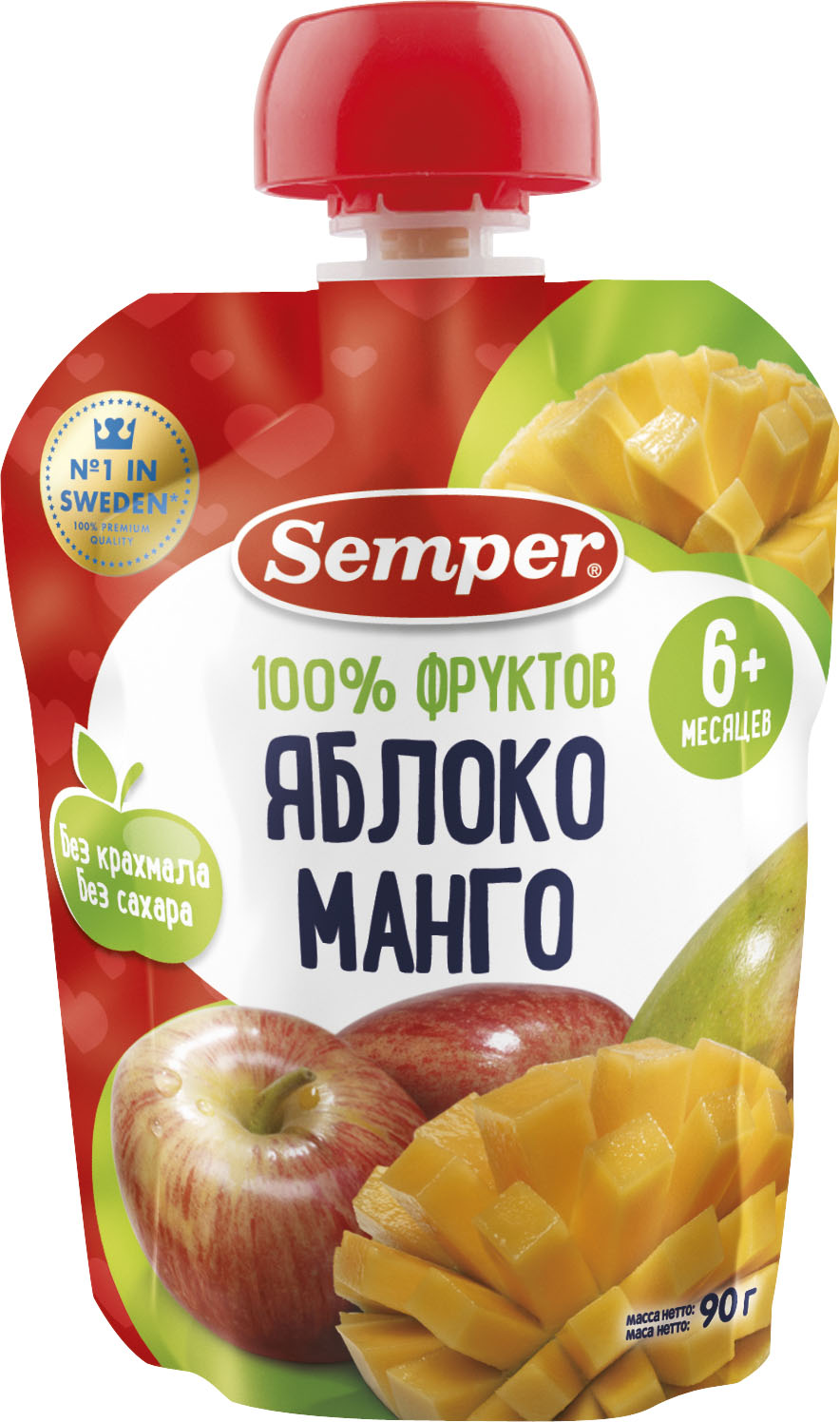 Пюре Semper Semper Яблоко и манго (с 6 месяцев) 90 г пюре semper semper яблоко и манго с 6 месяцев 90 г