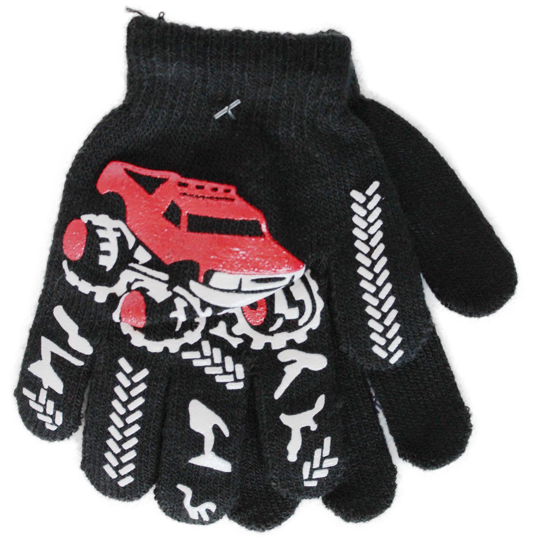 Перчатки детские Принчипесса Однослойные для мальчиков, черны с рисунком Джип
