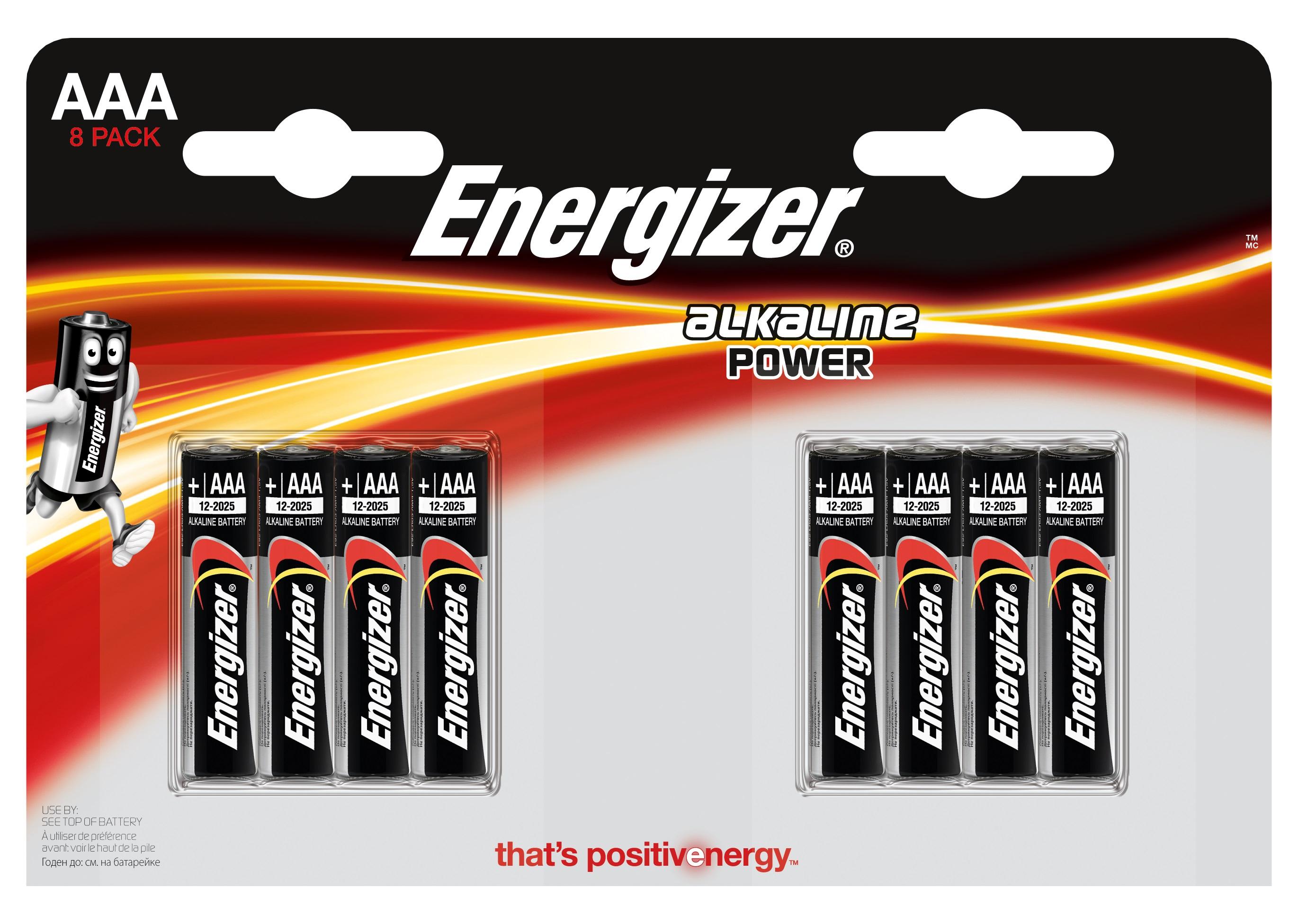 Элементы питания Energizer Alkaline Power AAA 8 шт E300127803 батарейки panasonic everyday power silver aaa 2 шт
