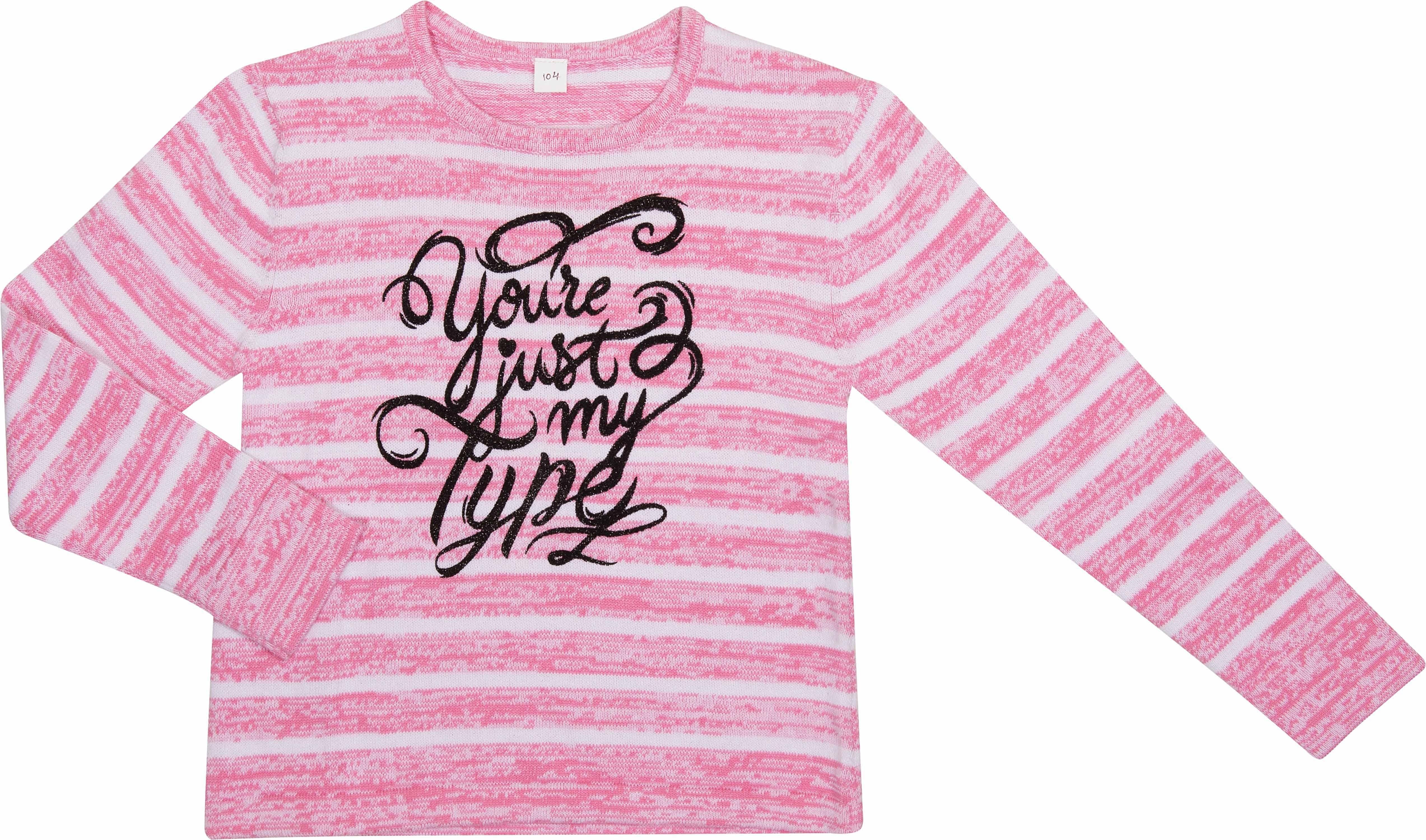 Купить Джемпер для девочки, Милитари розовый с рисунком в полоску, Barkito, Индия, розовый в полоску, 100 % хлопок, Женский