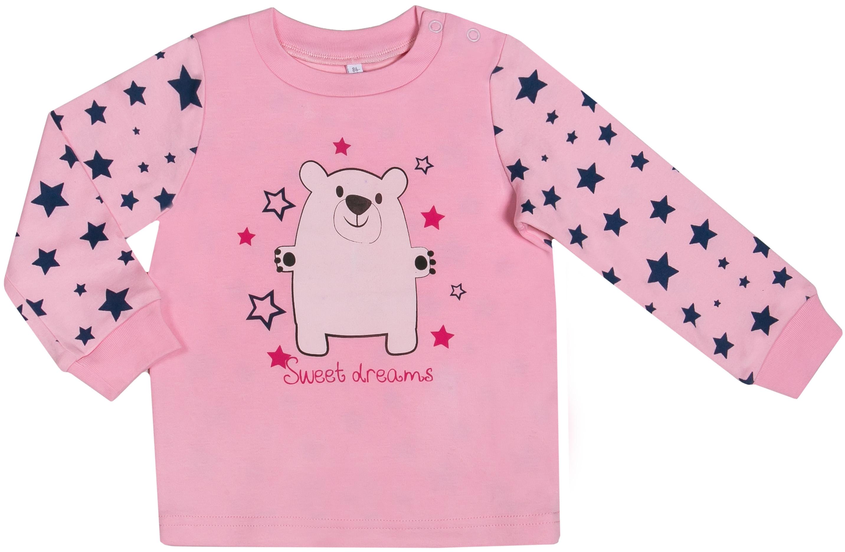 Купить Пижама для девочки, Сновидения, 1шт., Barkito W17G1001S(2), Узбекистан, верх - розовый, низ - розовый с рисунком, Женский