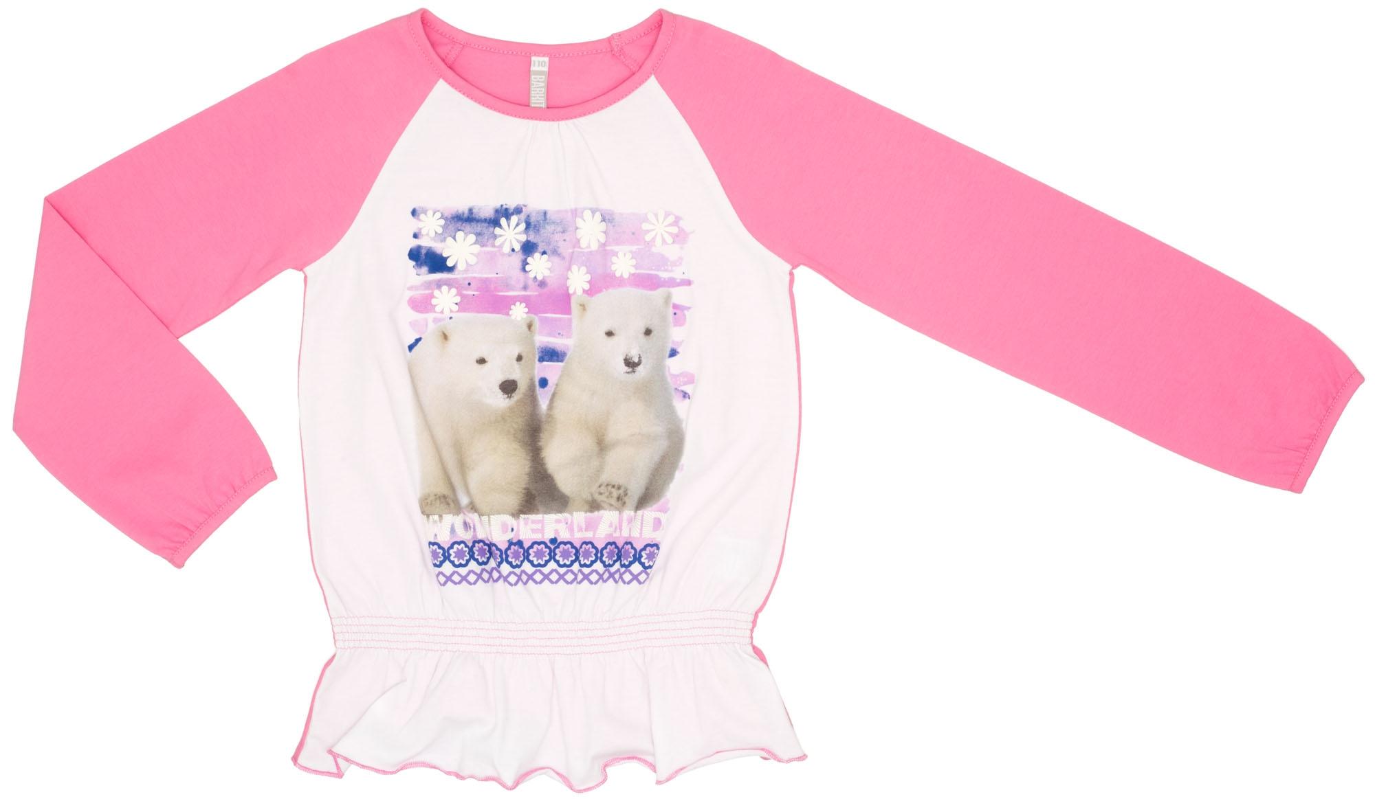 Футболки и топы Barkito Футболка с длинным рукавом для девочки Арктика Barkito розовый топы и футболки