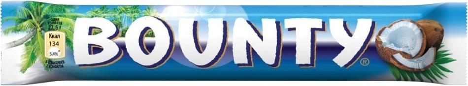 Шоколадный батончик Bounty Bounty 55 г
