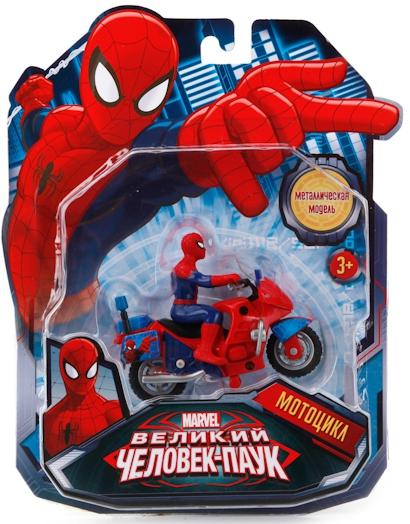 Машинки и мотоциклы Технопарк Человек-паук с фигуркой majorette радиоуправляемый мотоцикл человек паук 3089752
