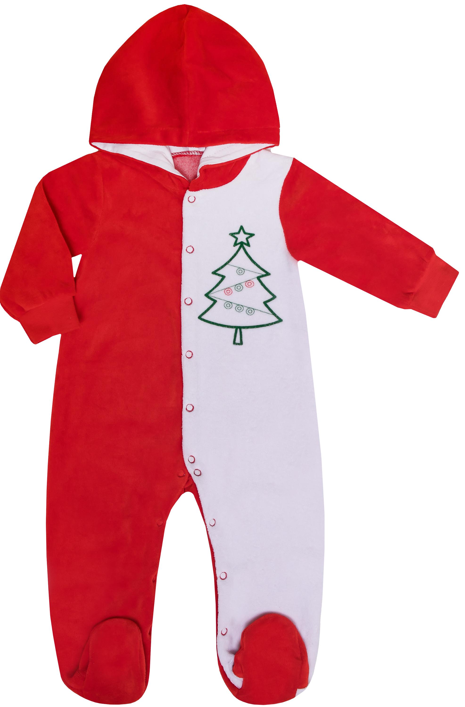 Купить Комбинезон велюровый детский, Дедушка Мороз, 1шт., Barkito W18B0037U, Россия, красный с белым