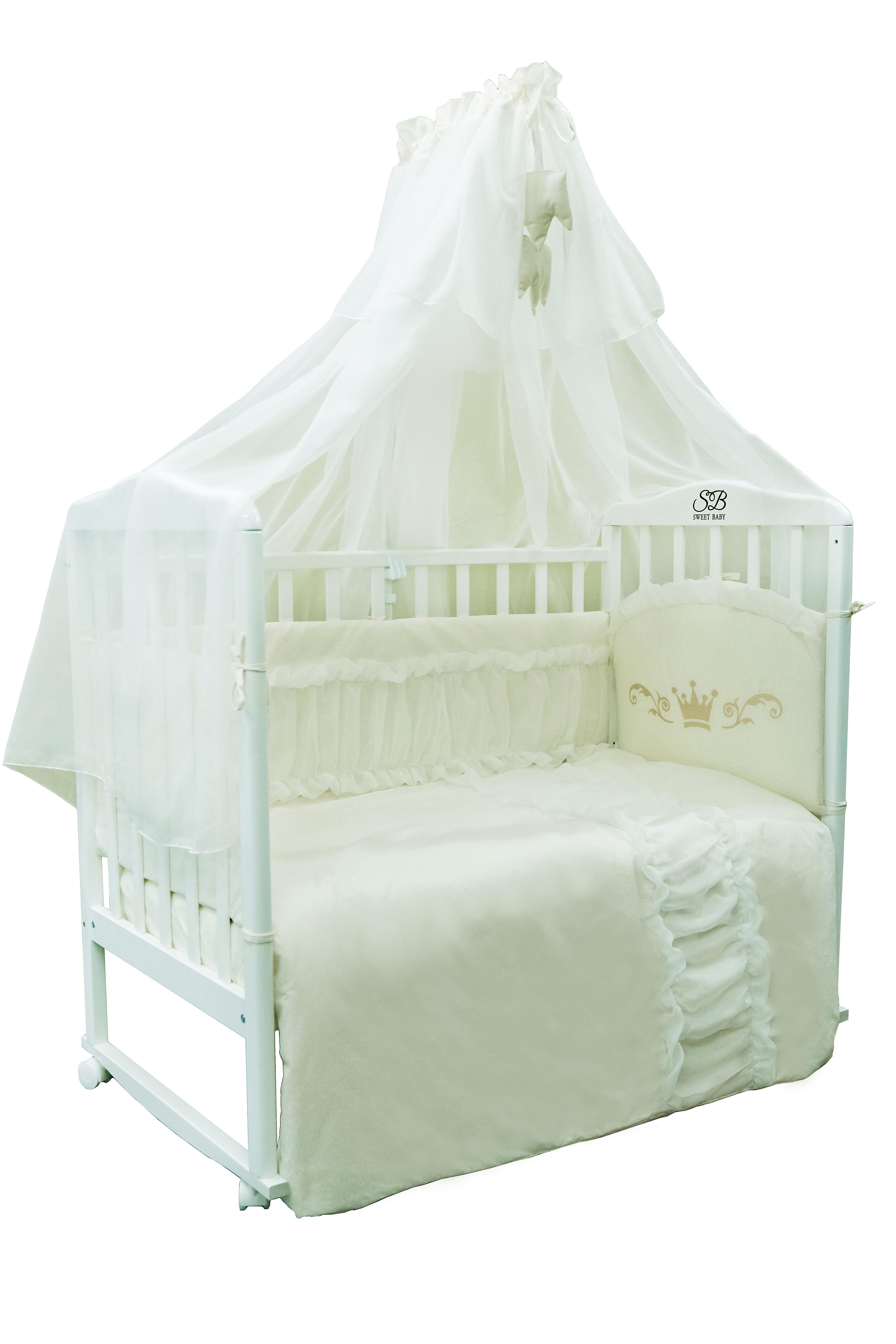 Постельные принадлежности Sweet Baby Комплект в кроватку Sweet Baby «Corona Beige» 7 пр. кремовый комплект в кроватку sweet baby vela beige бежевый с рис 7 предметов сатин
