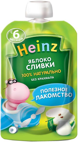 Пюре Heinz Пюре Heinz Яблоко и сливки 6 мес. 90 г (пауч) пюре heinz фруктовое 120 гр грушка и черничка с печеньем с 6 мес