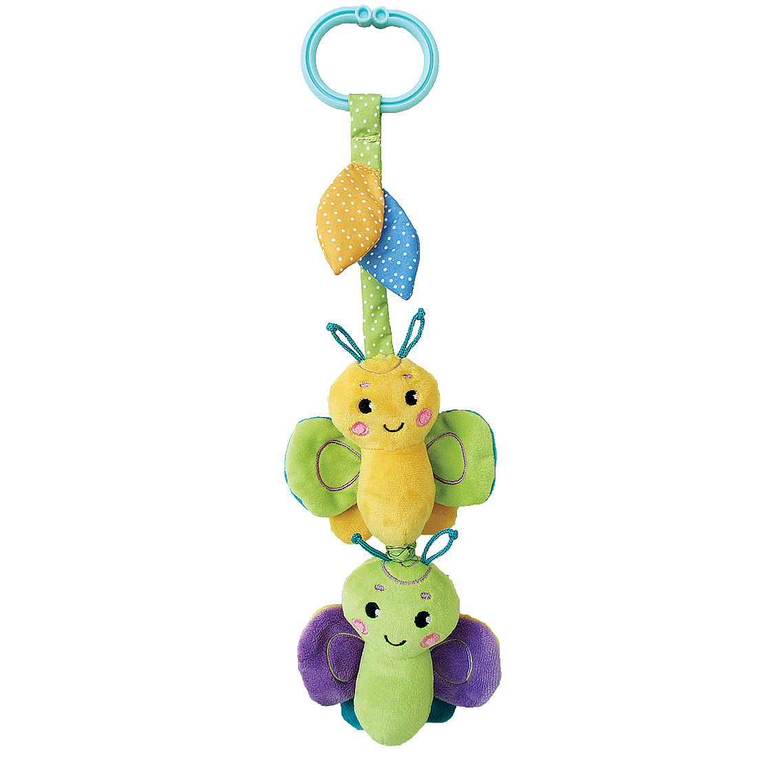 Подвесные игрушки и дуги Жирафики Подвеска Жирафики «Бабочка» с вибрацией, пищалкой и шуршалкой, зеленая подвесные игрушки жирафики бабочка 93848