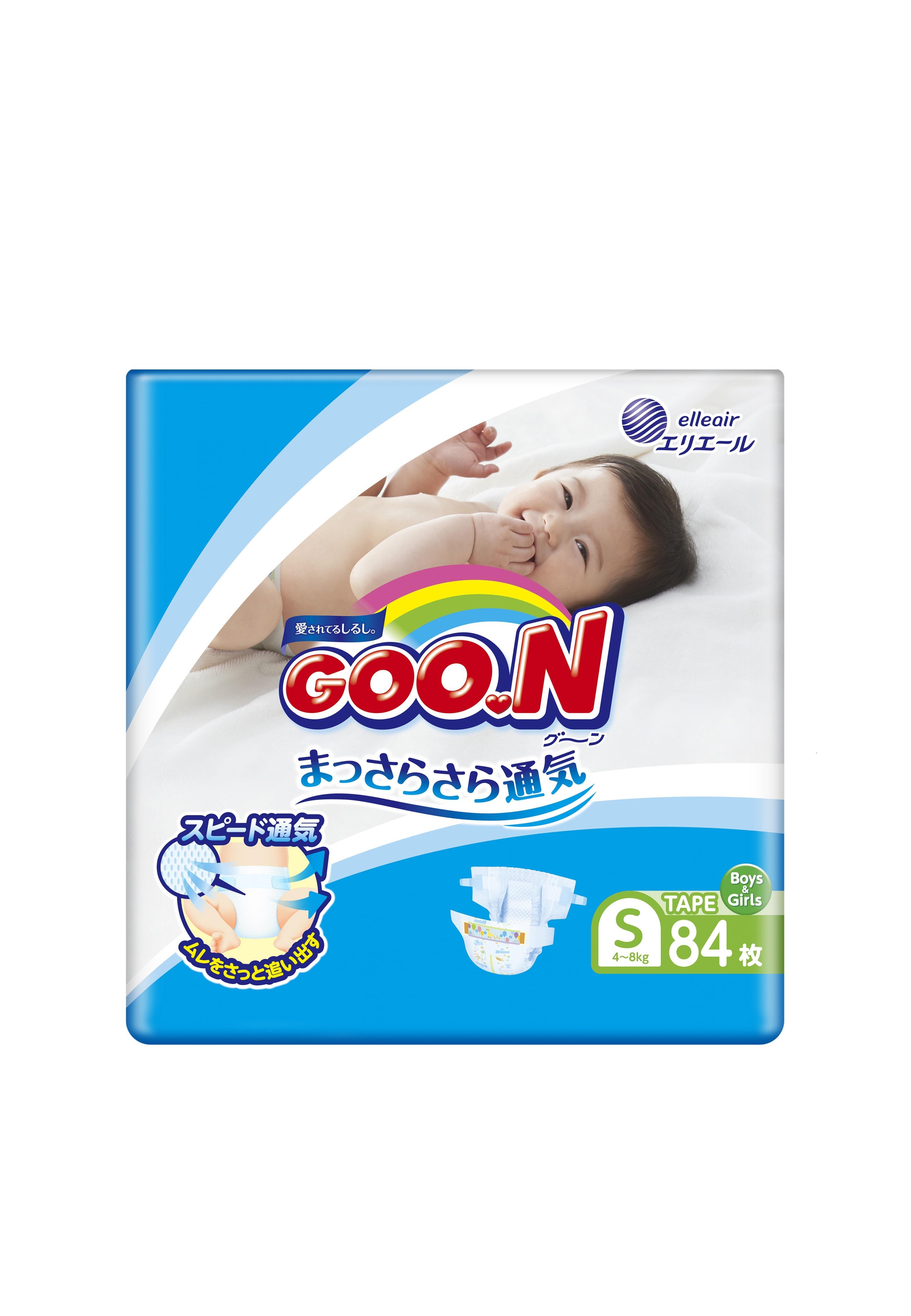 Подгузники Goon S (4-8 кг), 84 шт. подгузники goon s 4 8 кг 84шт