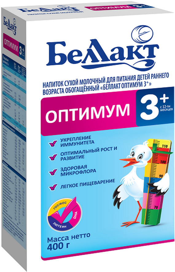 Молочная смесь Беллакт Беллакт Оптимум 3+ (с 12 месяцев) 400 г сухие беллакт беллакт оптимум 3 с 12 месяцев 400 г
